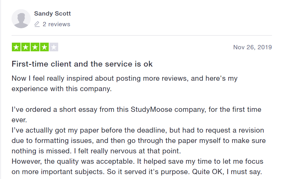 StudyMoose User Review
